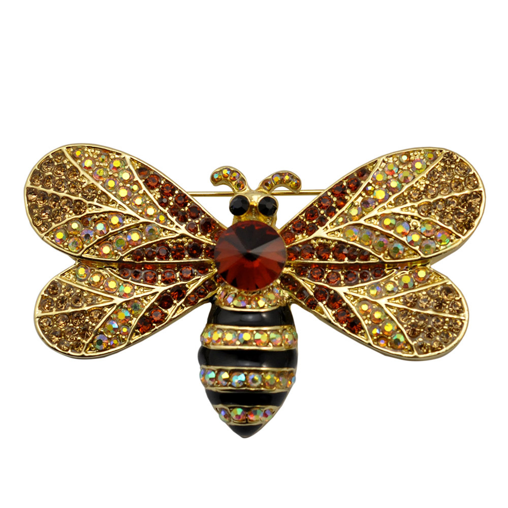 Hot Sale Fashion Alloy Cute Bee Brooch Advanced Rhinestone and Brooches for Women Gift Wholesale