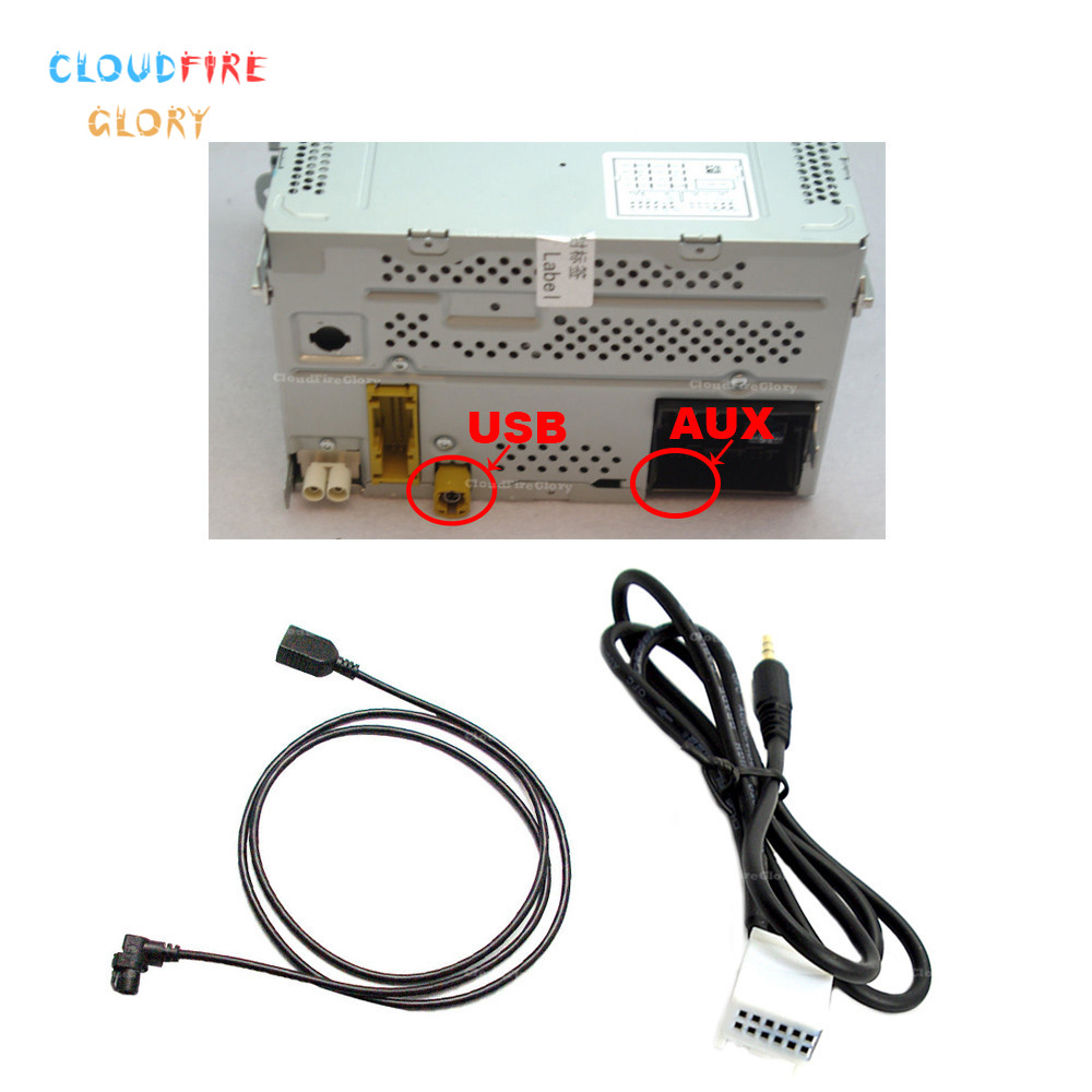 Car Radio RCD510 <font><b>USB</b></font> Socket AUX Interface 3AD035190 <font><b>USB</b></font> AUX Cable Wire Harness Adapter For VW <font><b>Golf</b></font> <font><b>5</b></font> Jetta Passat Tiguan image