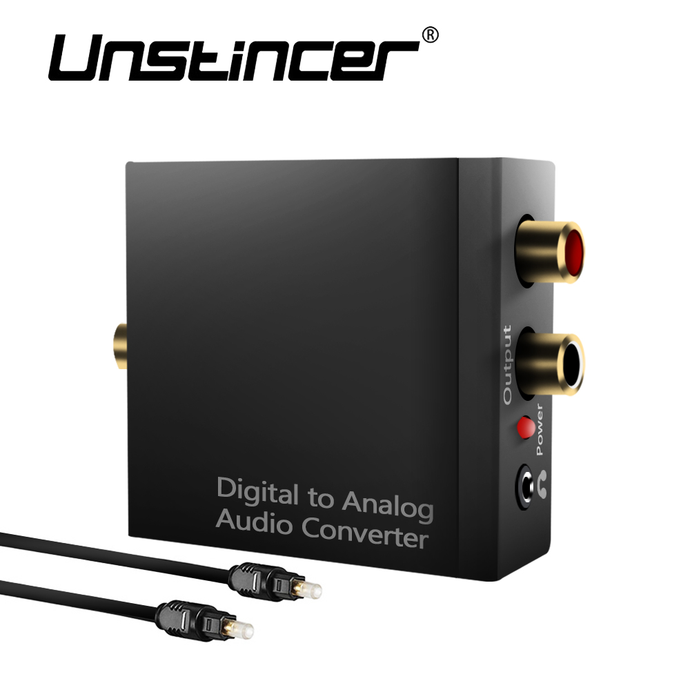 UNSINCER SPDIF Coaxial Toslink Audio Cable Digital To Analog  Converter Adapter With RCA 3.5mm Audio Optical Cable For PS4 HDTV