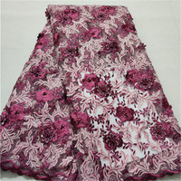2019 Latest african 3d lace fabric embrodiery lace fabric for african french lace fabric For Bridal dress 5yards/pieces