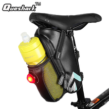 Bicycle Saddle Bag With Water Bottle Pocket +Taillight Waterproof MTB Bike Cycling Rear Seat Tail Light Bags Bike Accessories