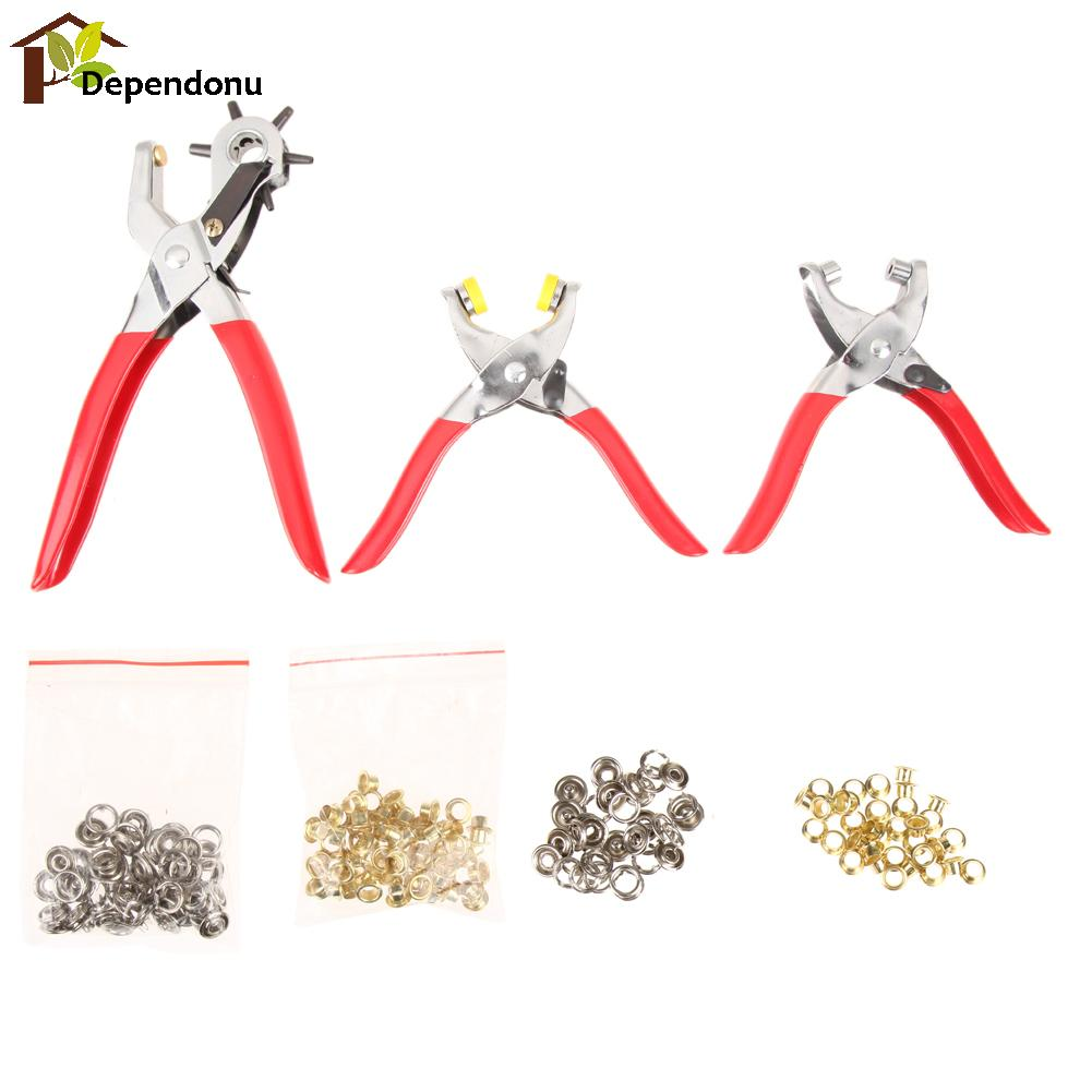 128pcs Puncher Heavy Duty Leather Revolving Hole Punch Hand Pliers Belt Holes Punches 2/2.5/3/3.5/4/4.5mm Repair Tool  цены