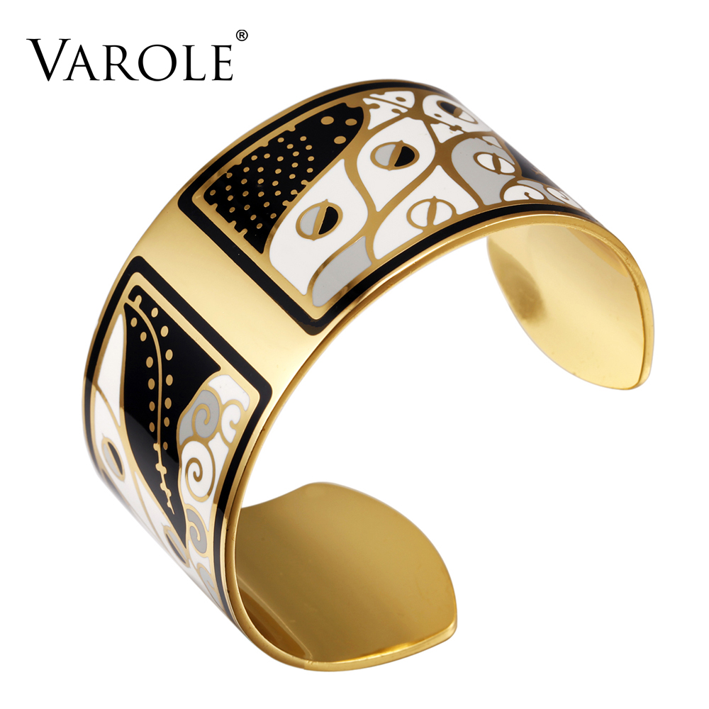 VAROLE 36mm Width Gold Color Colorful Copper Bangles & Bracelets Bangle for Women Cuff Bracelet Pulseiras Enamel Jewelry