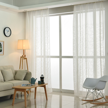 Geometry White Embroidered Tulle Curtains 2