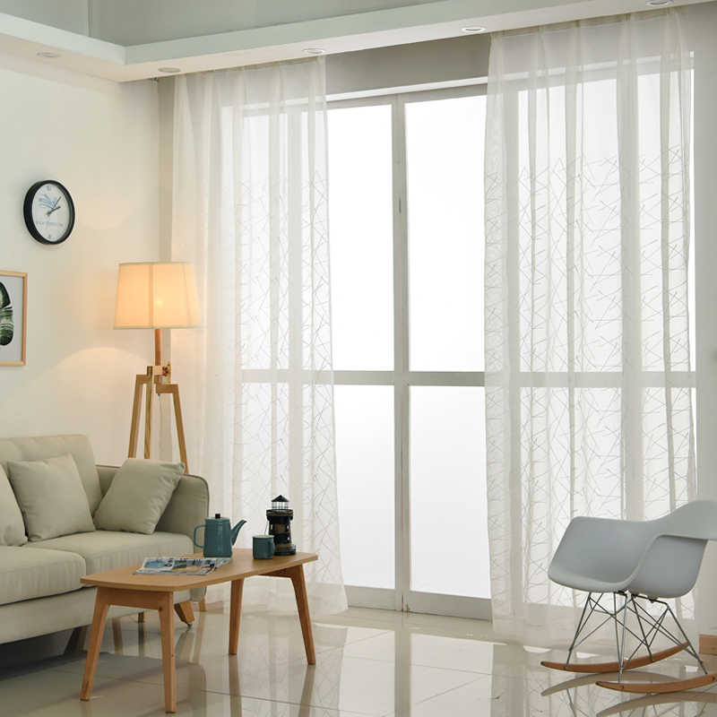 新しいジオメトリ白刺繍チュールカーテンリビングルーム、モダンな薄手のカーテン寝室の窓ブラインドボイルカスタムサイズ