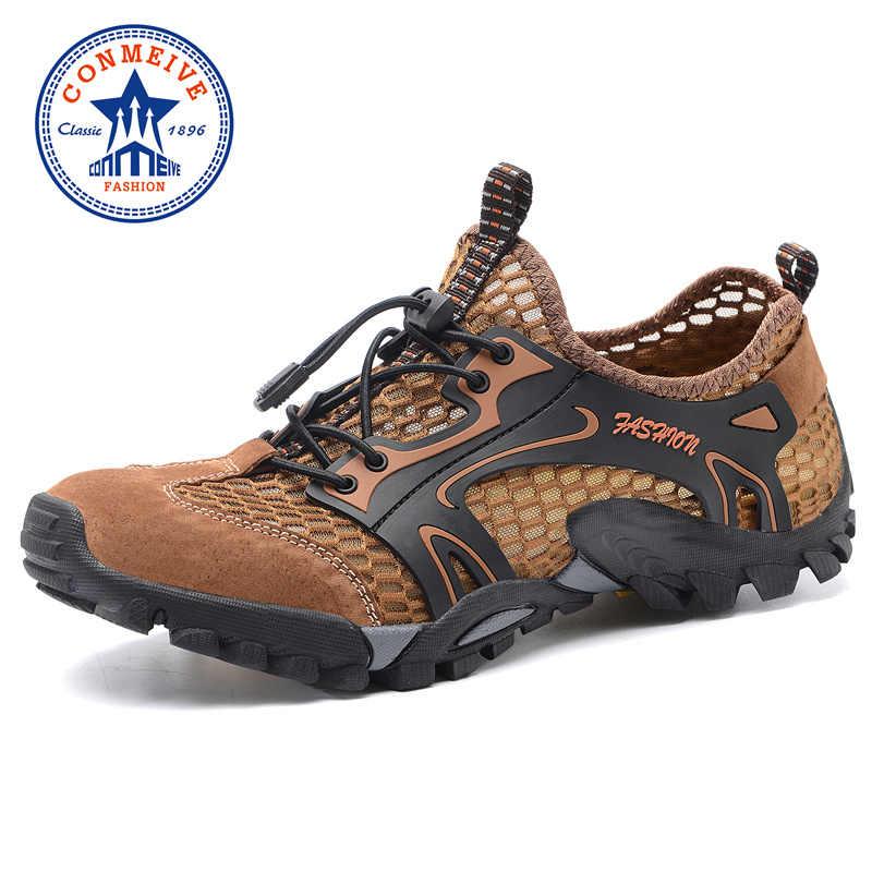 Жаркое лето Открытый Пеший Туризм обувь Для мужчин Обувь с дышащей сеткой + кожаные кроссовки Для мужчин s сандалии походы след воды восхождение и рыбалка обуви