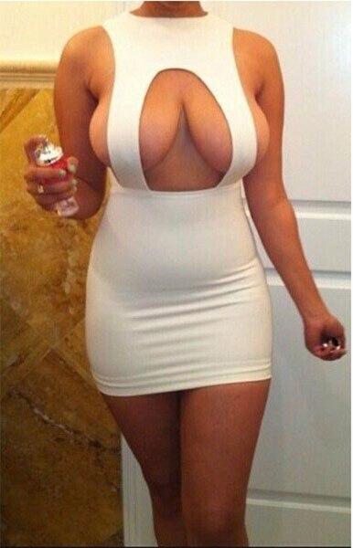 Plus Size Cleavage White Black Summer Dresses Women 2018