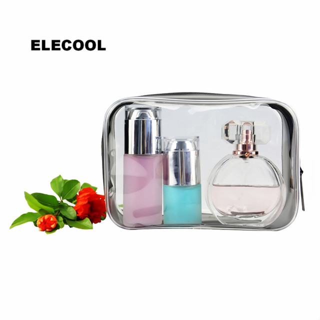 ELECOOL New PVC Clear Travel Cosmetic Bag Organizer Holder Pouch Waterproof Make Up Bag Cosmetic Makeup Tools