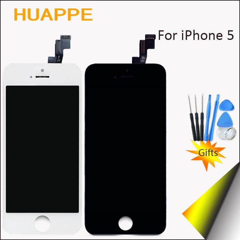 imágenes para 1 unids ningún pixel muerto aaaa calidad de visualización para apple iphone 5S LCD Reemplazo de la Pantalla Táctil Con Digitalizador 4.0 pulgadas Blanco negro