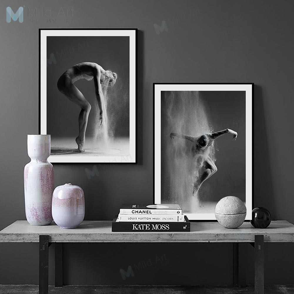 Black And White Ballet Dance Girl Figure Photo Big Posters Prints Nordic Style Room Wall Art Pictures Home Decor Canvas Painting