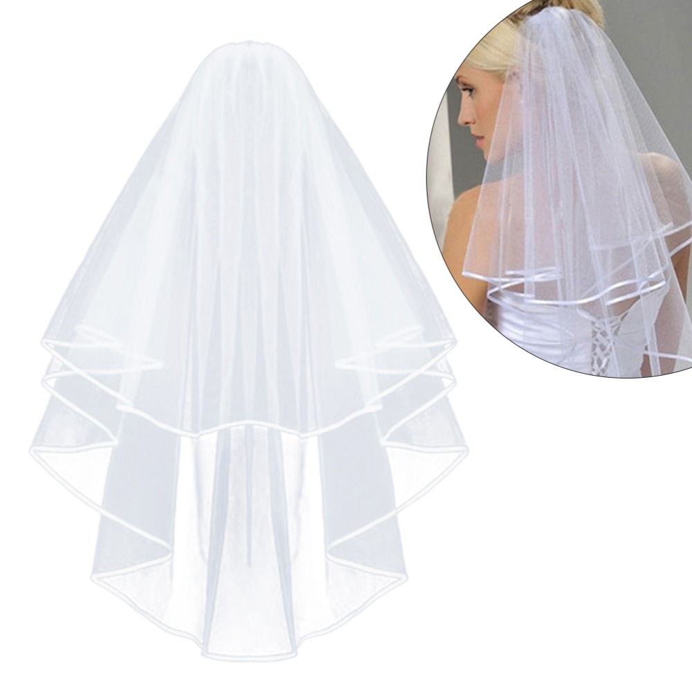 LAMYA Simple and Elegent Wedding Veil Bridal Tulle Veils with Comb and Lace Ribbon Edge White and Beige