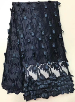 Free Shipping High Quality African Embroidered Applique Black French Tulle Lace Fabric For Nigerian Lace Fabric