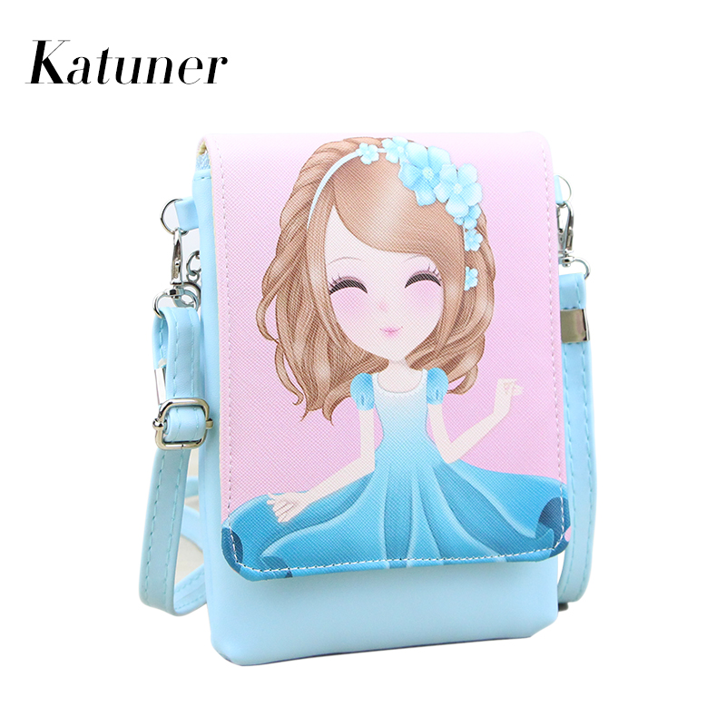 Katuner New Cartoon Cute Baobao Women Leather Shoulder Bags Children Mini Crossbody Bag For Girls Purse Bolsos Mujer Sac KB048