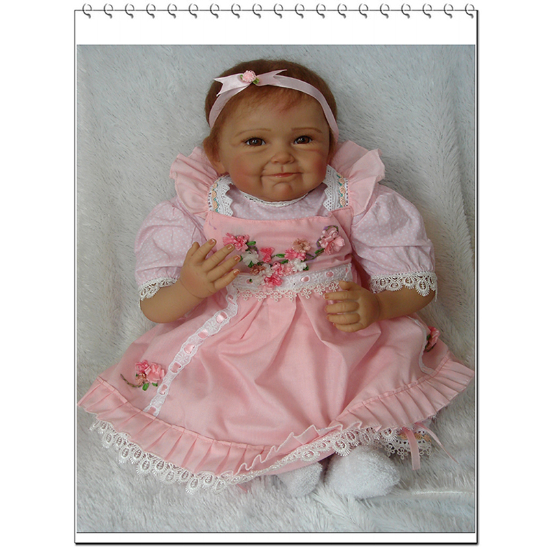 New Arrival 22 Inch Smiling Reborn Baby Doll Silicone Lifelike Newborn Toy Handmade Princess Girls With Hair Kids Birthday Gift