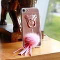 Telefone case para iphone 7 kisscase ultra fina limpar espelho urso anel de luxo de capa dura de volta para o iphone 7 pingente de bola de cabelo Coque