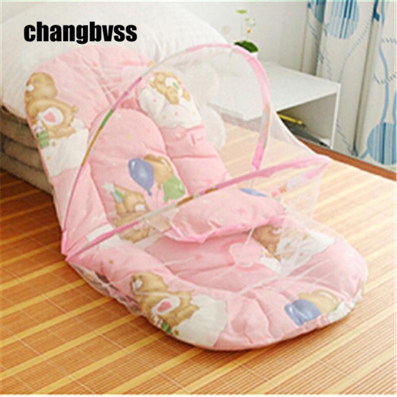 Infant Cushion Mattress+Pillow Bedding Crib Netting Set Portable Newborn Folding Baby Bed Cradle Crib with Folding Mosquito Net