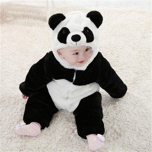 2016 Novo Bebê Traje Animal Pijama Onesie Bonito Escalada Romper Macacão Macacão Lindo Macacão Panda para Crianças