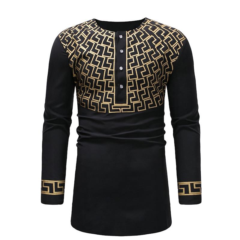 African style man dashiki long-sleeved T-shirt printing men's clothing V-neck design (8)