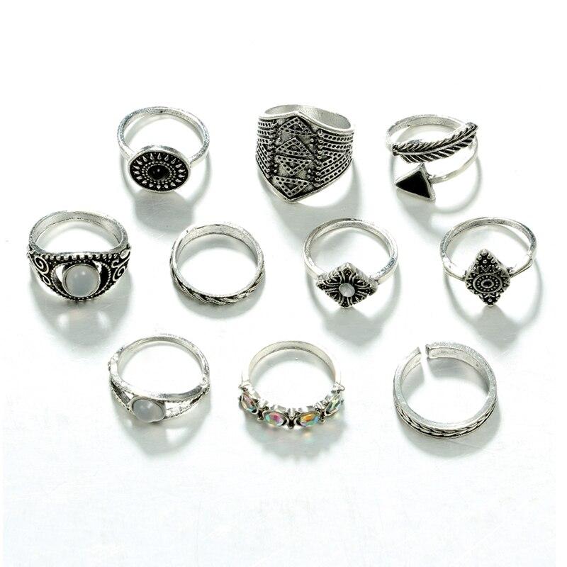 Docona лист камень, кольцо на фалангу комплекты Винтаж кристалл опал кольца костяшки для Для женщин кольца, ювелирные изделия 10 шт./лот 4846