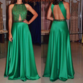 Brilliant Green Sequined Beaded Long Prom Dress Sexy Backless Sleeveless A-Line Graduation Party Gowns Cheap Satin Prom Dresses