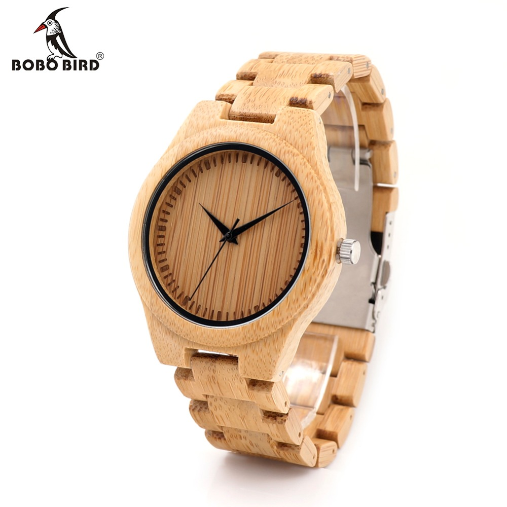 BOBO BIRD D19 Menns Luxulry Top Brand Design Klokker Fargerike Hands Wood Armbåndsur for Menn Tilpasset Bamboo Wooden Watches