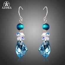Azora genuino deslumbrante azul irregular forma de calidad superior de cristal austriaco pendientes de gota para los regalos del día de san valentín te0276