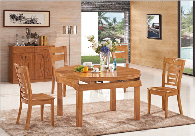 Amazing All Solid Wood Dining Table Deals Restaurant Dining Chairs Combination Table  4/6 Dual Retractable