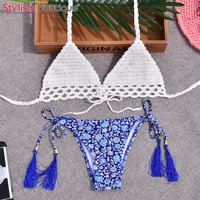 2017 Crochet Swimwear Sexy Handmade Knitted Bikinis Set Women Halter Swimsuit Printed Bottom Brazilian Biquini Bathing