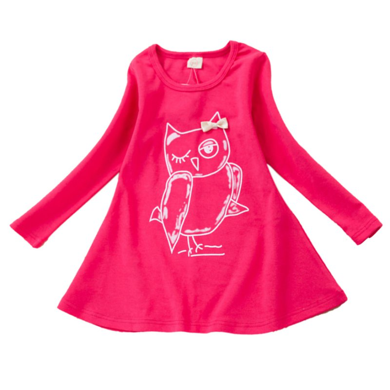 New Spring Dress Fashion Girl Long Sleeves Cotton Baby Casual Dress Girls Cartoon Owl Baby Clothes