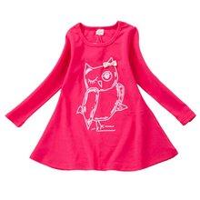 Весенние платья для девочек одежда с длинным рукавом хлопка Обувь для девочек повседневные платья с изображением совы одежда