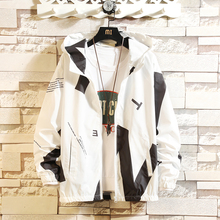 Summer New Thin Jacket Men Fashion Contrast Color Casual Hooded Man Streetwear Hip Hop Loose Bomber Homme M-3XL