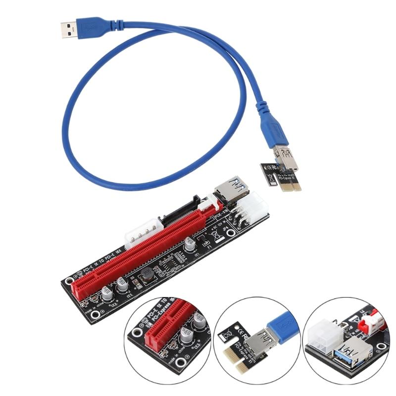 4pin 6pin SATA Power PCIExpress 16X Slot Riser Card USB 3.0 PCI-E PCI-Express 1x To 16x PCIE Riser For Bitcoin BTC Miner Mining