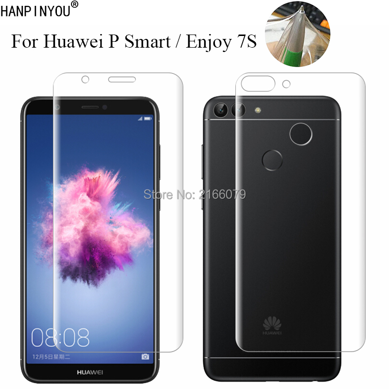 """For Huawei P Smart / Enjoy 7S 5.65"""" Soft TPU Front Back Full Cover Screen Protector Transparent Protective Film + Clean Tools"""
