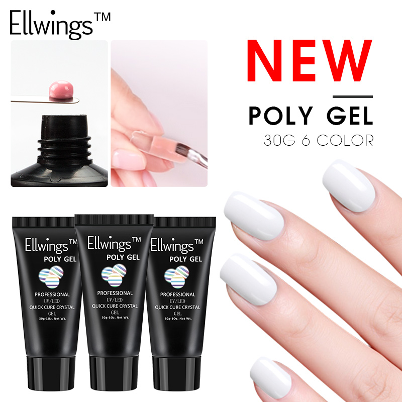Crystal Gel Nail Video: Ellwings Polygel 6 Colors Transparent Clear Crystal Acryl