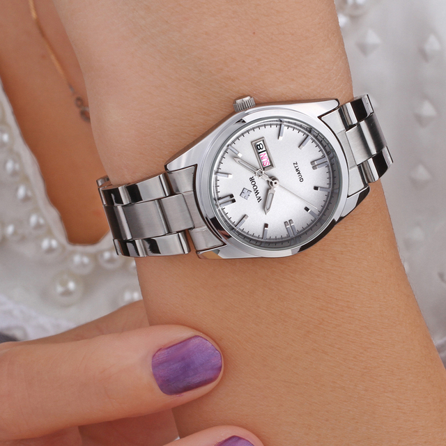 WWOOR Women's Luxury Date Silver Stainless Steel Ladies Quartz Watches 5