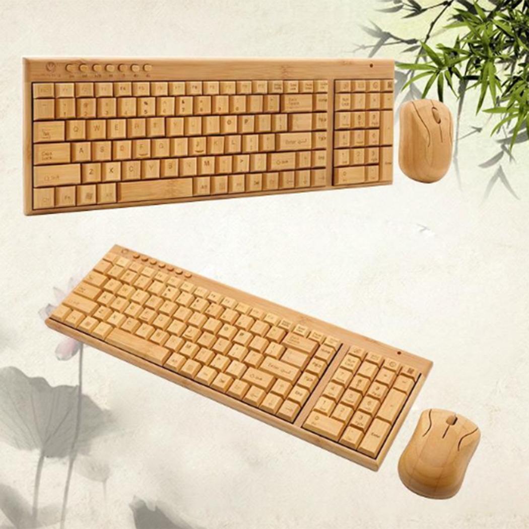 2.4G sans fil bambou ordinateur de bureau sans fil clavier 0.8 kg Hz et 2 pièces 7 # batterie souris ensemble 10 m sans fil