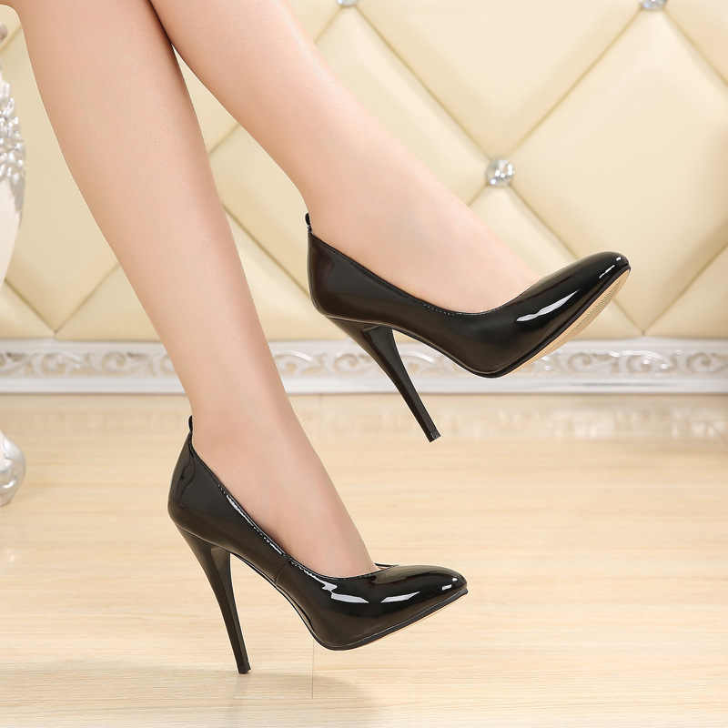 aca2da26134 Sexy women thin high heels patent women pumps party Dress shoes 12CM High  Heels Wedding Shoes
