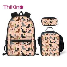 Thikin Dachshund Animals Pattern School Bags 3pcs/set for Teenagers Backpack Supplies Bookbag Lovely Satchel