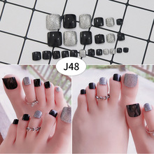 Dropshipping 24 Pcs/Set False Toe Nail Tips With Glue Women