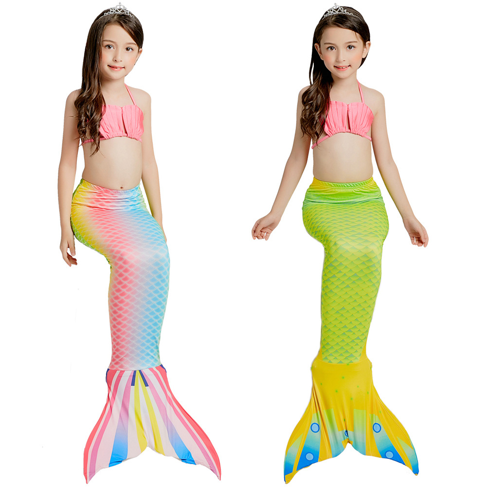 2018 Kids Mermaid Tail Bikini Suit Cute Swimmable Cosplay Costumes Children Mermaid Tails Grils Swimwear No Flipper