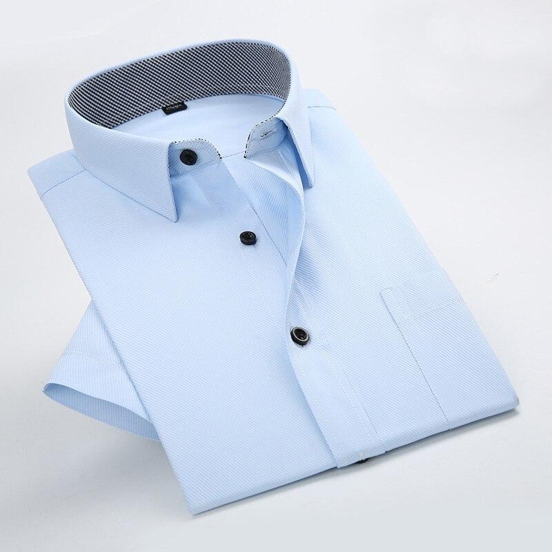 2017 Sommer Kurzarm Streifen Shirt Männer Slim Fit Twill Formale Arbeitshemd Beiläufige Mens Dress Shirts Camisa Plus Größe Masculina