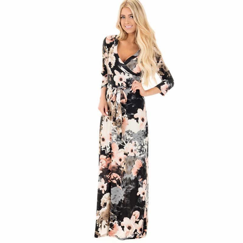 75655641211 Для женщин летние цветочный принт Макси платье в стиле бохо стиль длинное пляжное  платье вечернее длинное