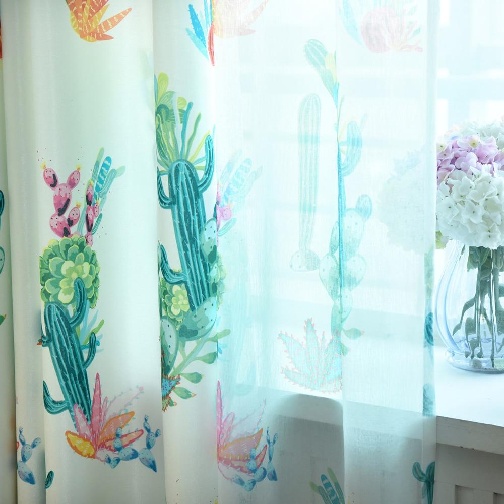 living room semi blackout cactus curtain modern european decor