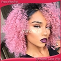 Long Curly Synthetic Lace Front Wigs for Black Women Afro Kinky Curly Lace Front Synthetic Wig Heat Resistant  ombre pink Wig