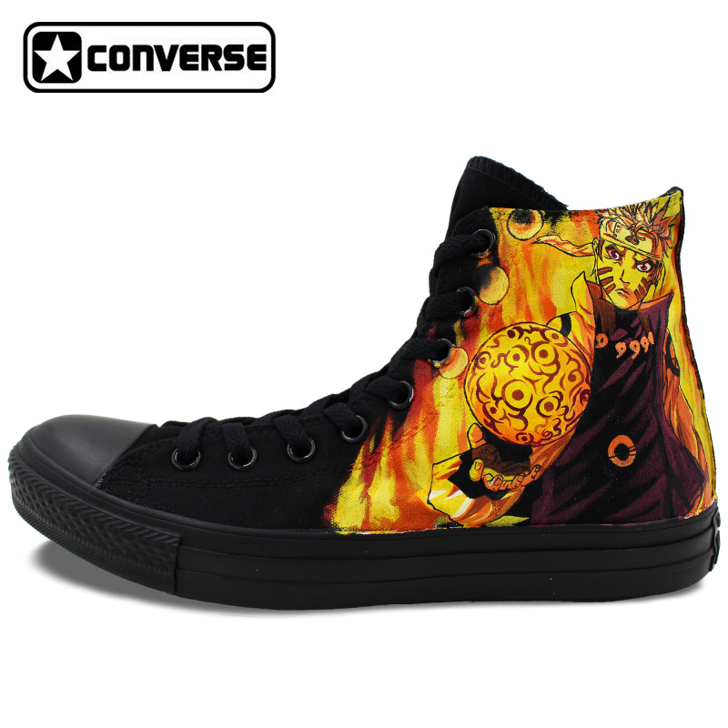 3eaea72d0180b4 Unique All Black Converse All Star Uzumaki Naruto Anime Shoes Sasuke Design Hand  Painted Shoes Women