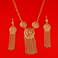 New Ethiopian Jewelry Women 24K Gold Color Necklace Earrings India African Dubai Ethiopia Nigeria Arabic Items