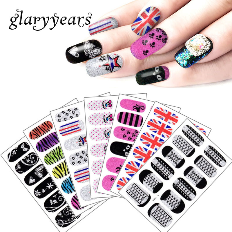 glaryyears 1 Piece Full Cover Y Nail Sticker Glitter White Lace Pattern Nail Art Decal Design Tool Rainbow Cartoon Self-adhesive one bottle cute white little snowflake pattern nail sticker
