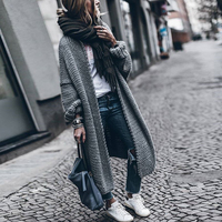 Autumn Winter Europe America Street Snap Sweater Long Cardigan Plus Size Women's Clothing Loose Batwing Sleeve Thick Knitwear
