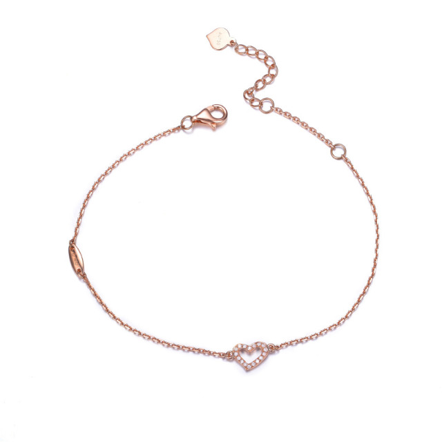 2017 New Stylish And Elegant 18k Rose Gold Diamond Bracelet Female Heart Shaped