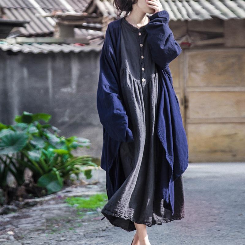 SCUWLINEN 2017 Vestidos Women Vintage Plus Size Loose Lacing Medium-long Cardigan Casual Trench Coat Outerwear B102002